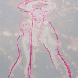 n.96 Maurizio Bongiovanni Spirits are my Friends 2020 Ipoclorito di sodio e pastello a cera 29,7 x 21 cm