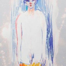 n.98 Maurizio Bongiovanni Spirits are my Friends 2020 Ipoclorito di sodio e pastelli a cera 29,7 x 21 cm 150€