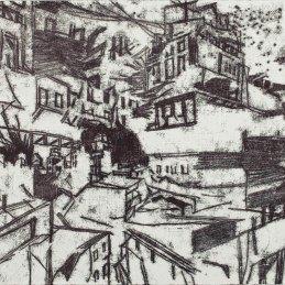 n.102 Federico Guerri Studio per un racconto di guerra, 2018, inchiostro tipografico trasportato su carta, cm 30,5x42