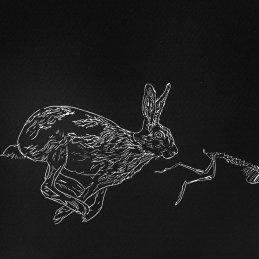 n.34 Giorgia Moretti Il sogno della lepre - Fuga, 2019, incisione p.a.l (Prova ante litteram) (puntasecca inchiostrata a rullo), 50x70cm