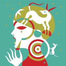 n.41 Gio Pistone Janet, serigrafia 3 colori turchese rosso oro, 30 copie firmate e timbrate