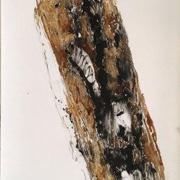 n.106 Giovanna Sarti T8 - Topografia del giardino 04 2020 Frottage a carbone e pigmenti naturali da corteccia di pino su carta, 21x29,7 cm