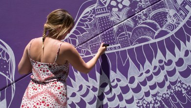 Photo of Kelsey Montague Wing Mural Unveiled at Universal CityWalk