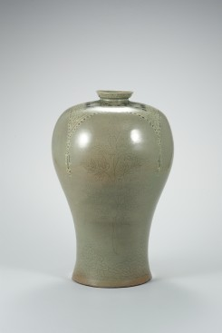 Celadon Lidded Prunus Vase with Incised Peony and Inlaid Wrapping Cloth Design image