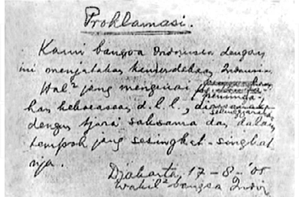 naskah asli proklamasi kemerdekaan indonesia