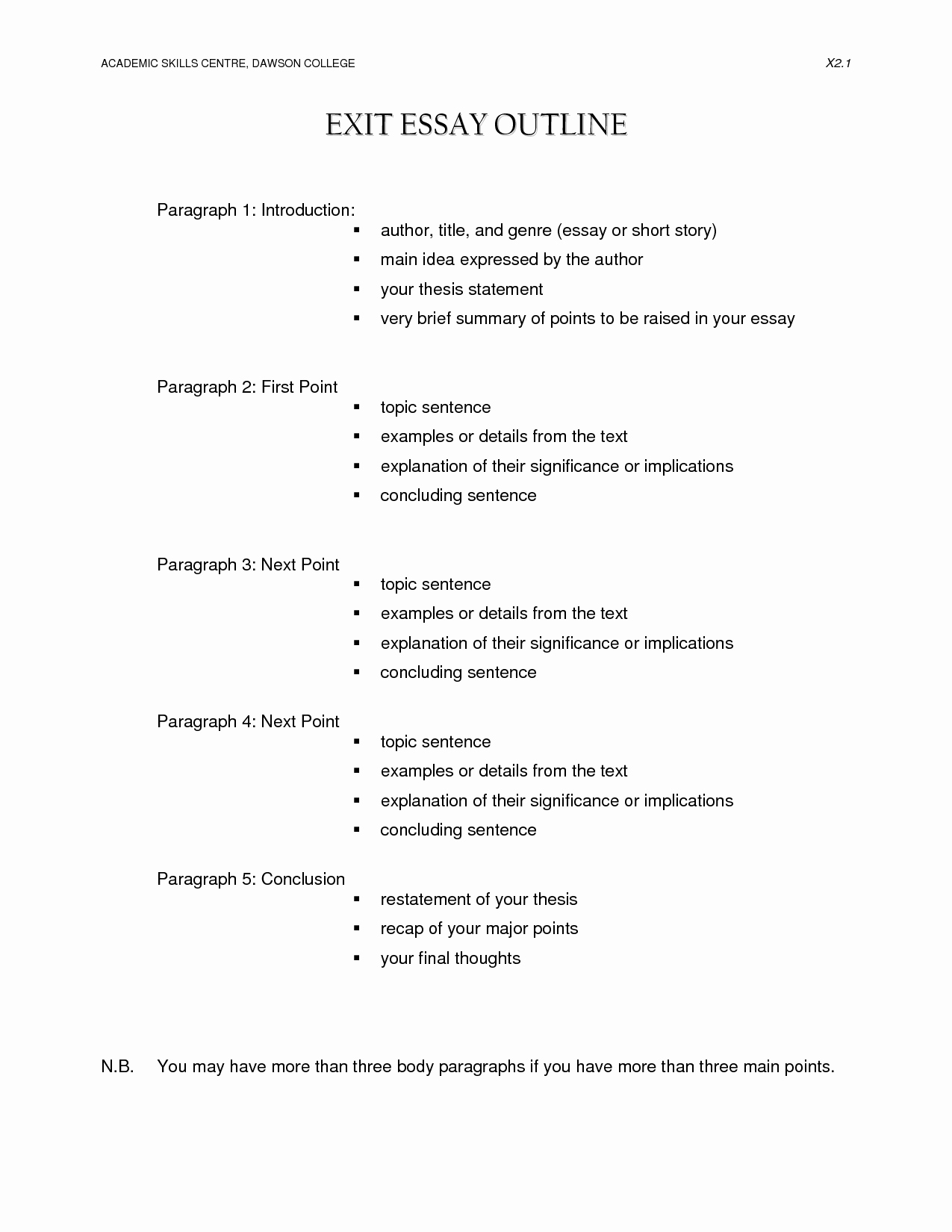 Thesis Statement Worksheet