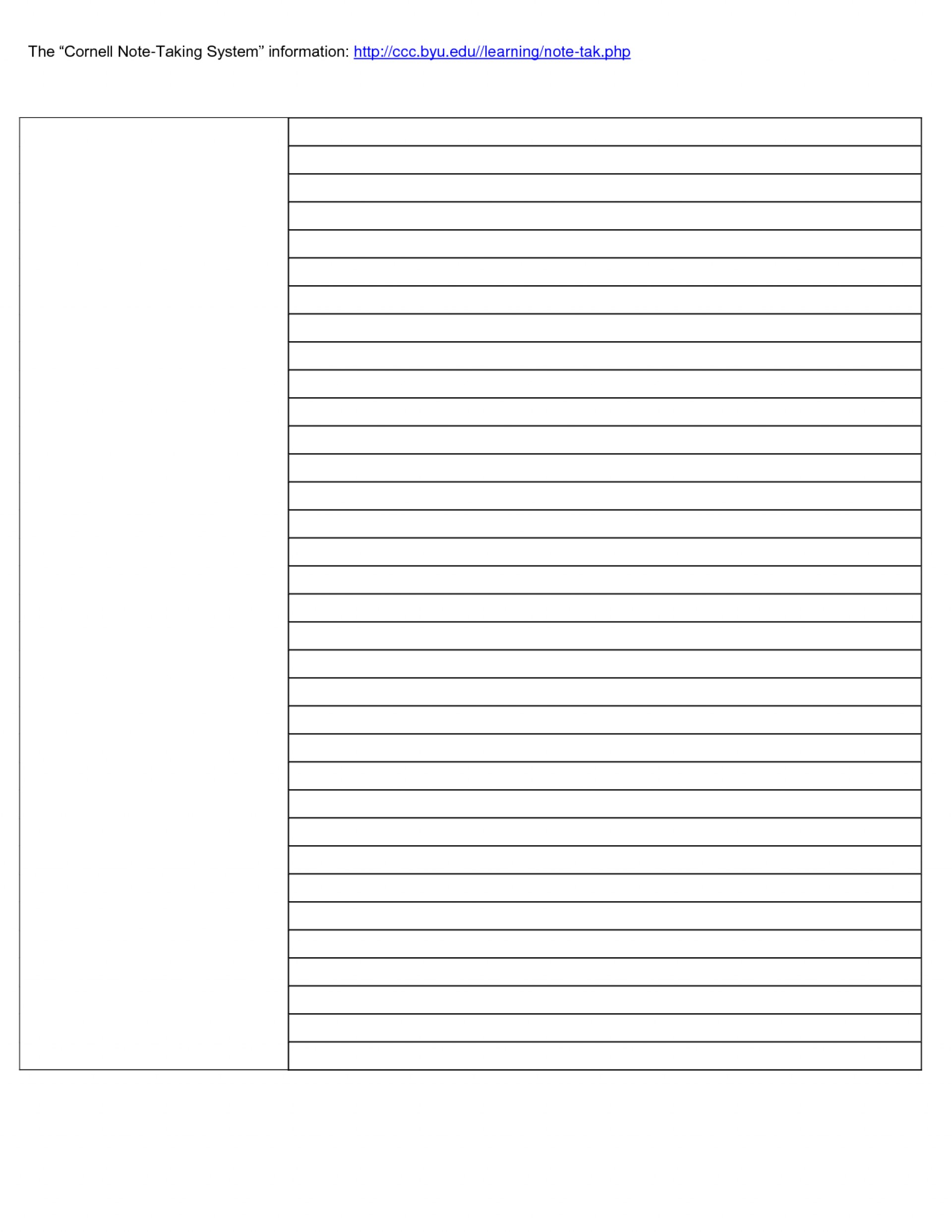 023 Cornell Note Taking Template Word Research Paper