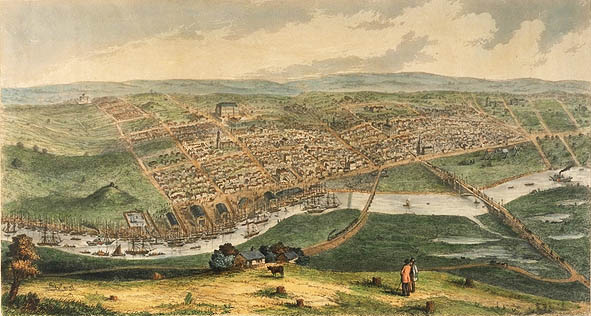 An early drawing of Melbourne, by Nathanial Whittock, showing the swampy south bank