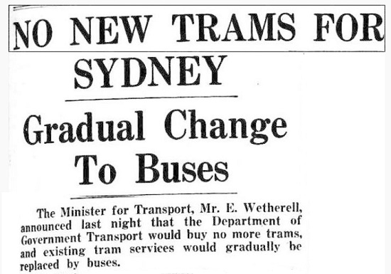 Sydney press reports the change from trams to buses