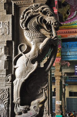 statue of the Yali, at the Meenakshi Temple