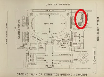 Map of the original Royal Exhibition Buildings in Carlton, Melbourne