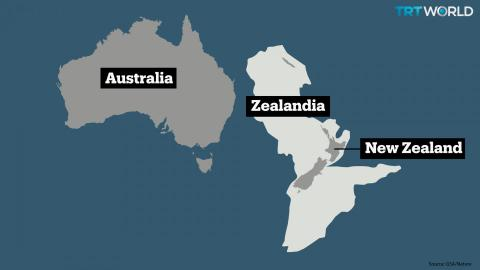 Diagram showing size and position of Zealandia