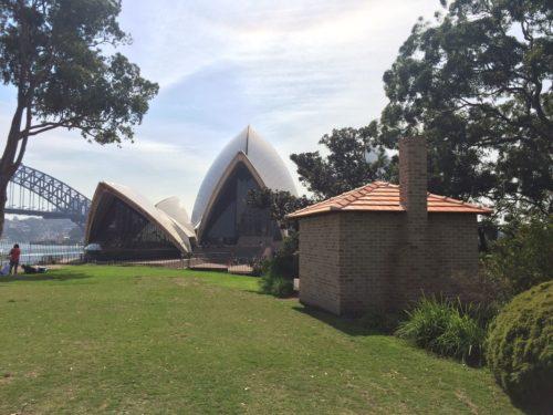 Bennelong's Hut replica, overlooking the Sydney Opera House