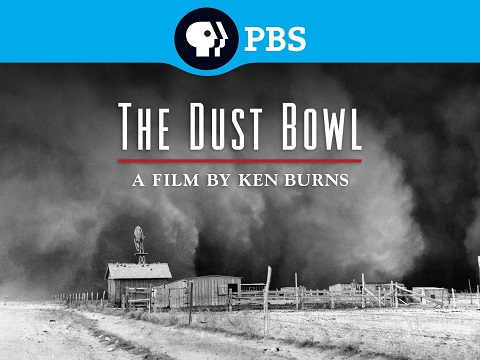 Title card for the Ken Burns doucmentary series 'The Dust Bowl'