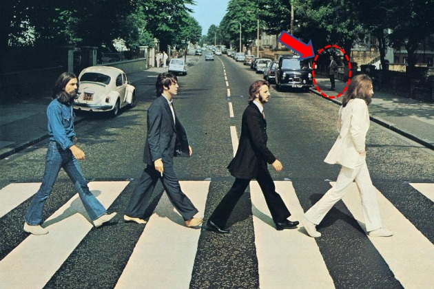The Abbey Road cover photos, showing pedestrian Paul Cole standing in the background.