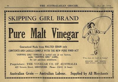 An ad for Skipping Girl Vinegar