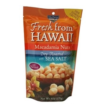 A picture of a bag of Hawaiian Macadamia nuts