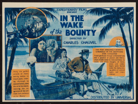 Poster for 'In the Wake of the Bounty'; Errol Flynn's film debut.
