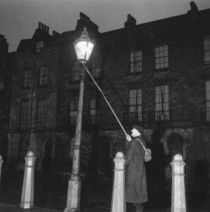 Manually lighting the gas lamps