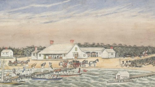 The Brighton Pier Hotel, and Liardet's jetty, painted by Liardet