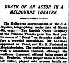 Origin of the Princess Theatre Ghost: Federici dies onstage
