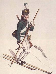 An 18th century Norwegian soldier on skis
