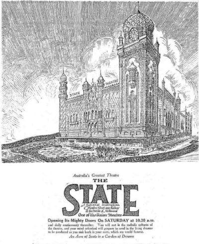 An ad for the opening of the State Theatre, Melbourne