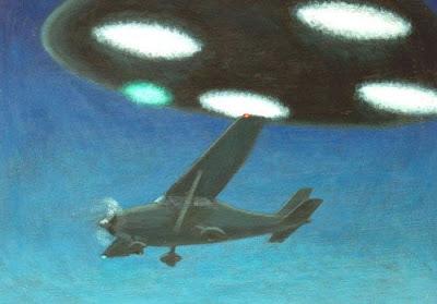 Artists impression of Frederick Valentich's UFO encounter