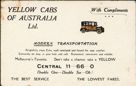 Ad for Melbourne's first taxi service