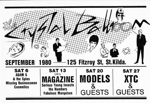 Poster for upcoming gigs at the Crystal Ballroom, 1980