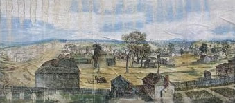 An excerpt from the Melbourne Cyclorama image, 'Early Melbourne 1842'