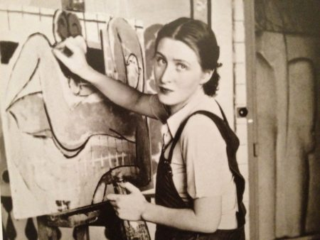 Francoise Gilot at work in the studio