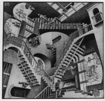 'Relativity' by M.C. Escher, a drawing employing impossible objects