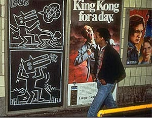 Keith Haring art in the New York subway