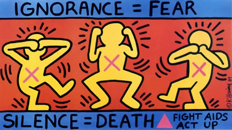 An AIDS awareness poster designed by Haring
