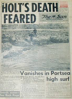 The press reports Harold Holt's drowning.