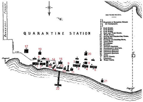 Point Nepean Quarantine Station: map from 1875