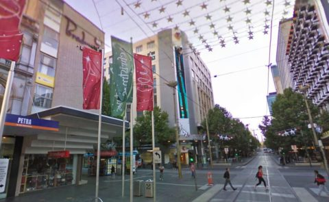 Corner of Swanston and Bourke Streets, present day