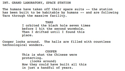 An excerpt from the original script of 'Interstellar', showing a deleted scene