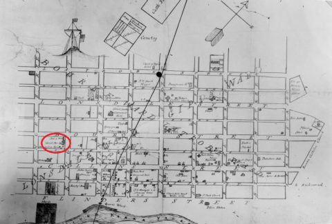 Colonial Store marked on an early map of Melbourne, circa 1860.
