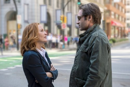 Gillian Anderson and David Duchovny in the return episode of 'The X Files'