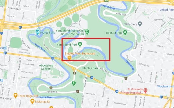 Map showing location of former Yarra Bend Asylum