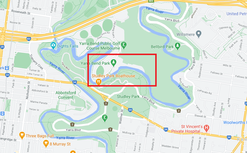 Map showing location of former Yarra Bend Asylum