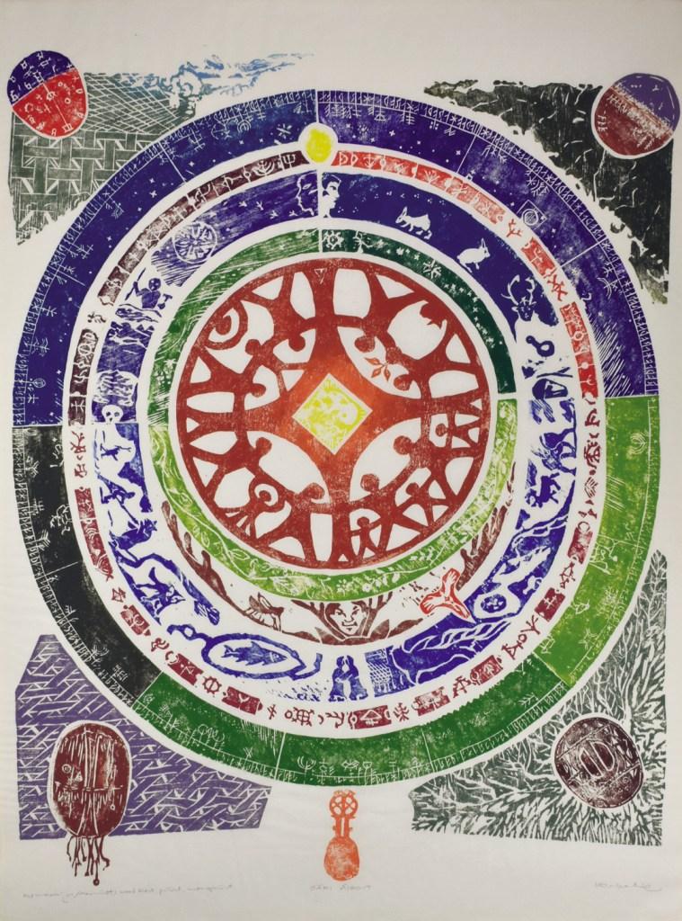 """A woodblock print of a traditional sami """"calendar"""""""