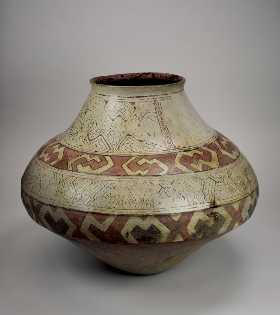 A large Shipibo jar with traditional geometric designs