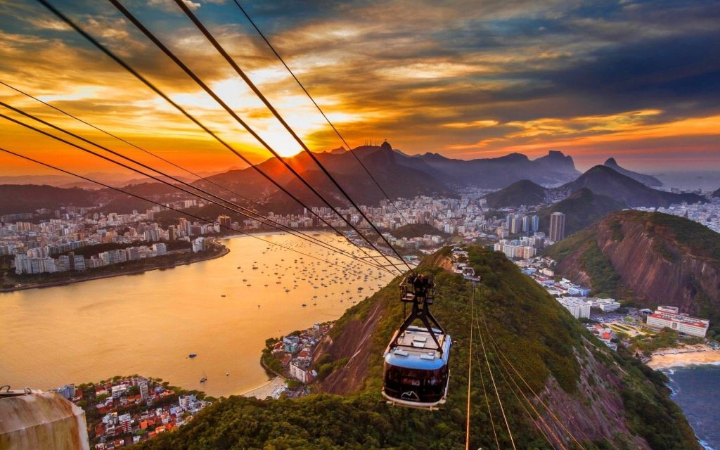 a cable car over sugar loaf mountain (brazil)