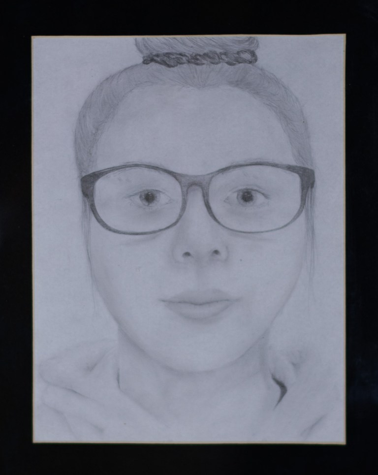 Self Portrait by Lakken Caffey. Third place,two-dimensional art, ages 11 to 15. NFS.