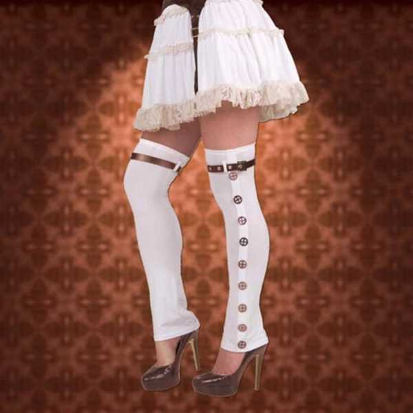 Steampunk Ladies White Buckled Spats - Museum Replicas