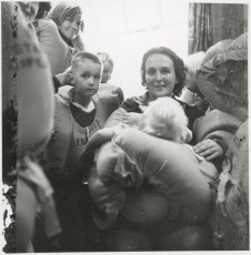 Shirley Hicks with son David and baby Gordon awaiting instructions.