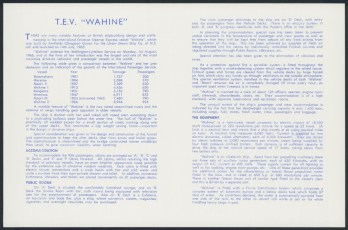 """USS Co. T.E.V. """"Wahine"""" Drive-on Vehicular and Passenger Vessel information brochure"""